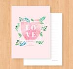 粉色指纹爱心卡片
