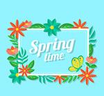 方形春季花卉框架