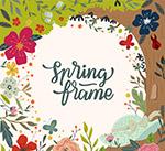 彩色春季树木和花卉