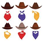 西部牛仔帽子和围巾