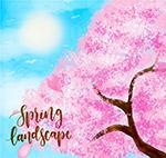彩绘春季樱花树