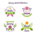 清新春季花卉标签
