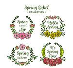手绘春季花卉标签