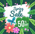 春季花卉半价海报