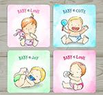 手绘婴儿卡片