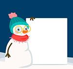扶空白纸板的雪人