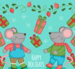 假期老鼠和礼盒