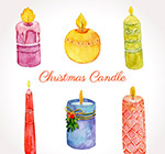 水彩绘圣诞蜡烛