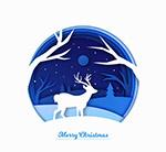 雪夜森林圣诞驯鹿