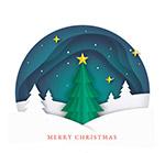 夜雪地圣诞树