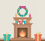 圣诞客厅壁炉
