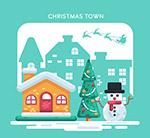 圣诞小城房屋和雪人