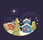 圣诞夜房屋和树木