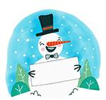 拿空白纸板的笑脸雪人