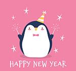 新年玩烟花的企鹅