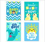 4款蓝色迎婴卡片