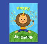 狮子生日祝福卡
