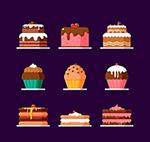 彩色美味蛋糕矢量