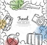 手绘旅行元素框架