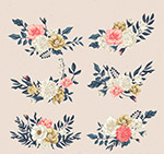 复古彩绘花卉花枝