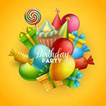 生日气球和糖果贺卡