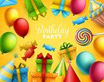生日气球和礼盒贺卡