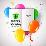 气球和生日祝福卡
