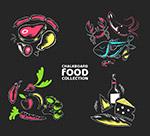 彩色食物黑板画