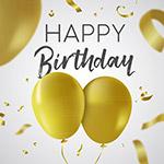 气球和丝带生日贺卡