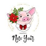 可爱猪新年贺卡