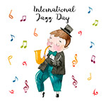 水彩绘国际爵士乐日