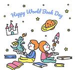 世界图书日男孩和女孩
