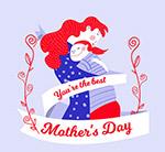 母亲节拥抱的母女