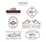 手绘鱼元素标志