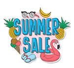 彩色夏季销售贴纸