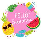可爱夏季食物框架