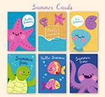 可爱夏季动物卡片