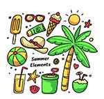 彩色夏季度假元素
