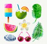 水彩绘夏季元素