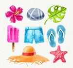水彩绘夏季假日元素