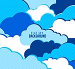 蓝色和白色云朵背景