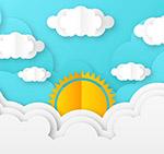纸质云中上的太阳