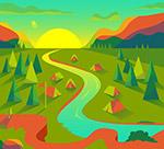 河边野营风景