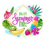 享受夏季时光艺术字