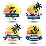 夏季假期太阳标签