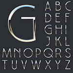 银色金属大写字母