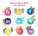 水彩绘社交媒体标志