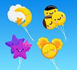 可爱表情气球束