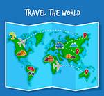 四折页世界地图