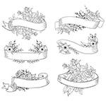 花卉装饰空白条幅